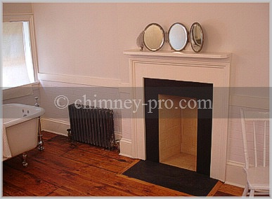 Masonry Fireplace for Colonial Style Bathroom